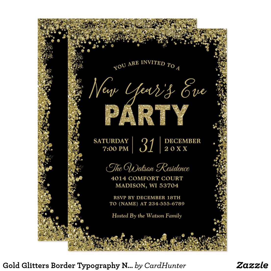 gold glitters border typography new years party card gold glitters border typography new years eve party invitation 1 for further customization