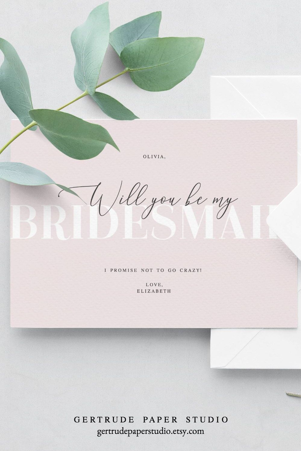 Blush Pink Will You Be My Bridesmaid Card Instant Download