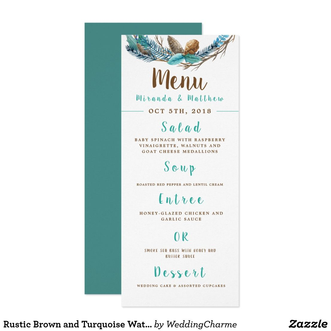 Wedding decorations made with cricut october 2018 Rustic Brown and Turquoise Watercolor Wedding Menu in   Bridal