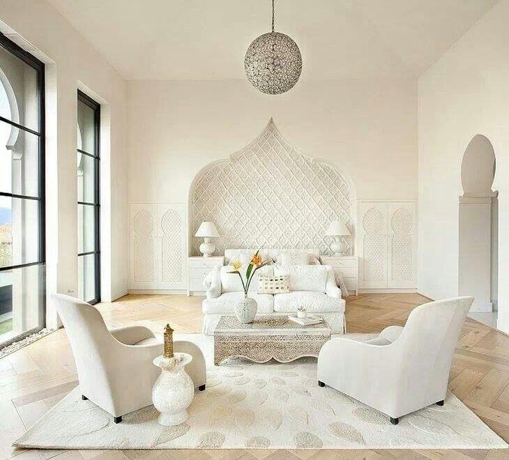 Light and white moroccan style decoraci n pinterest - Salones arabes modernos ...
