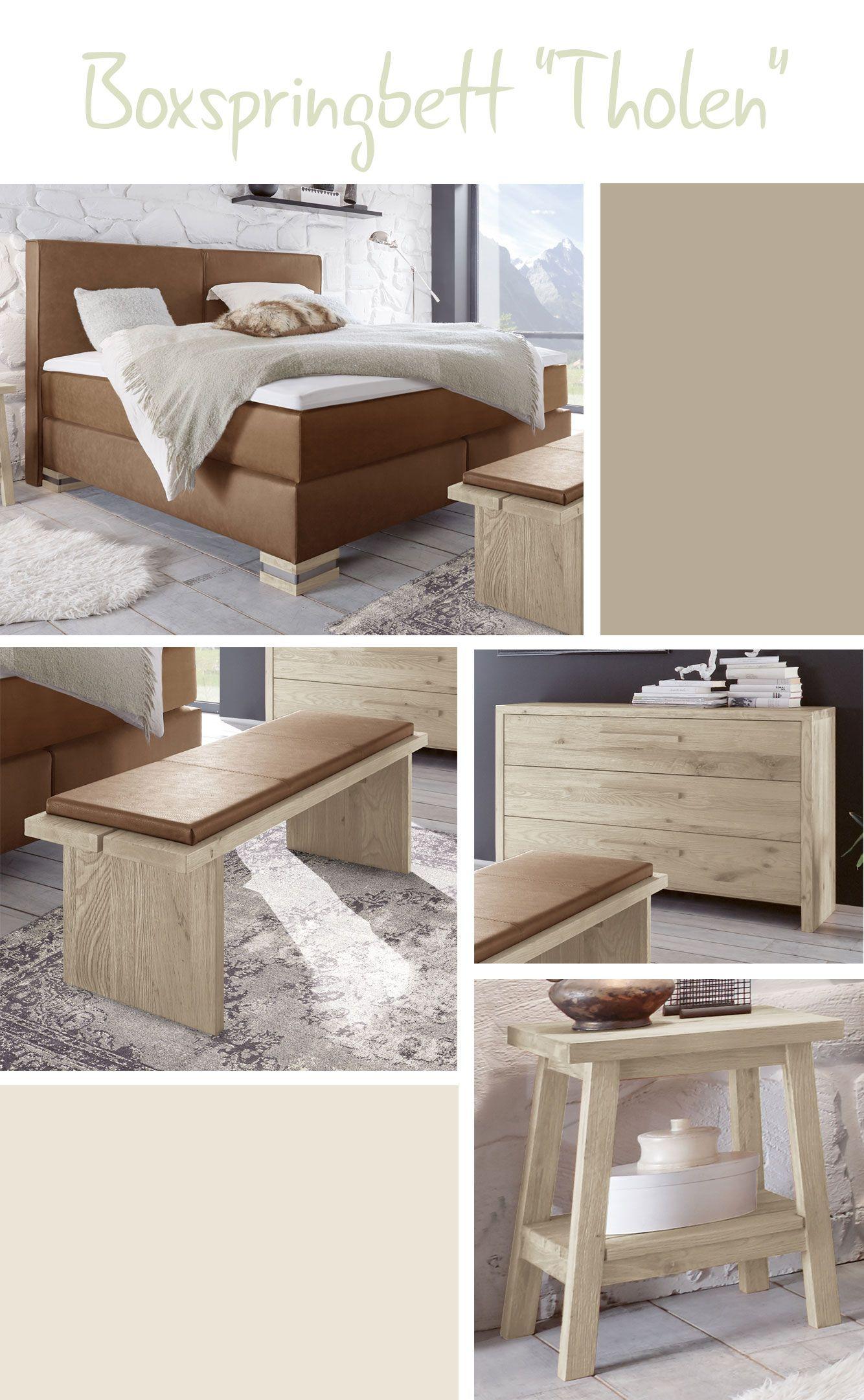 rustikales boxspringbett mit derben stahlmanschetten an den ... - Hochwertiges Bett Fur Schlafzimmer Qualitatsgarantie