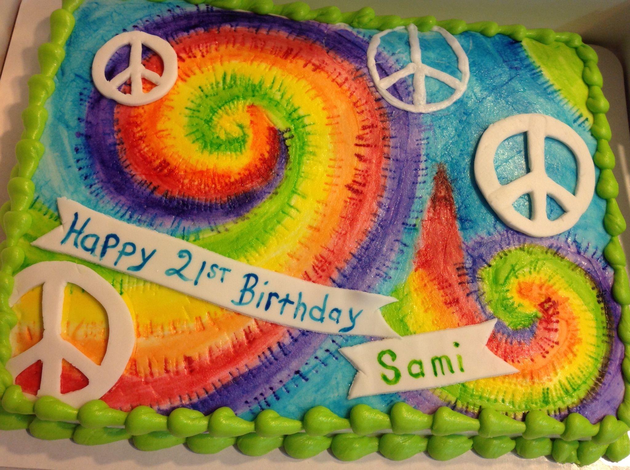 Tie Dye Peace Sign Sheet Birthday Cake