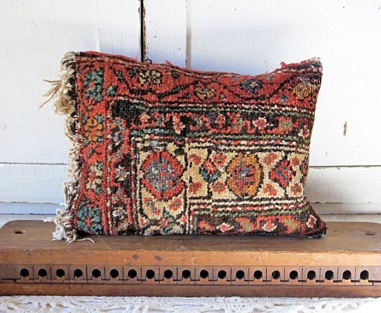 Love this Vintage CARPET BAG Pillow!  Add a little BOHO to your SOFA.  JUNK Furnishings.  FAB!!