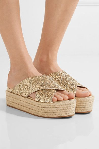 Miu Miu Glittered Leather Espadrille Platform Sandals Free Shipping Pay With Visa Sneakernews Online Buy Cheap Amazing Price Oyxd5