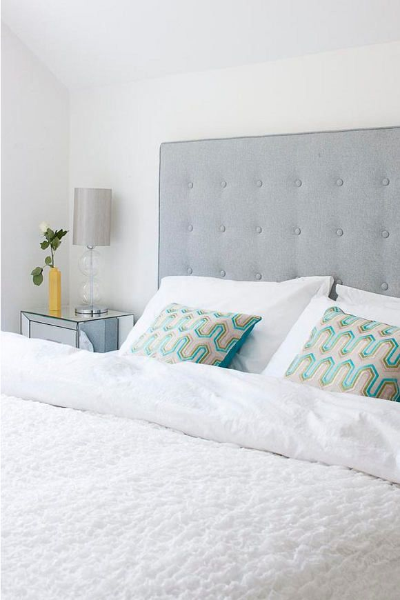 Grey Tufted Headboard, White Bedding, Pop Of Color In Pair Of Patterned  Pillows // Pretty Colorful Bedroom