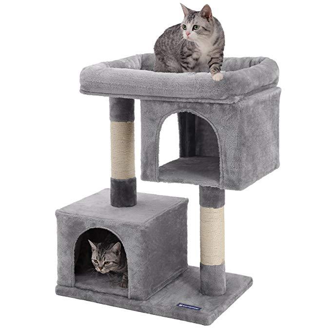Amazon Com Feandrea Cat Tree For Large Cats 2 Cozy Plush Condos