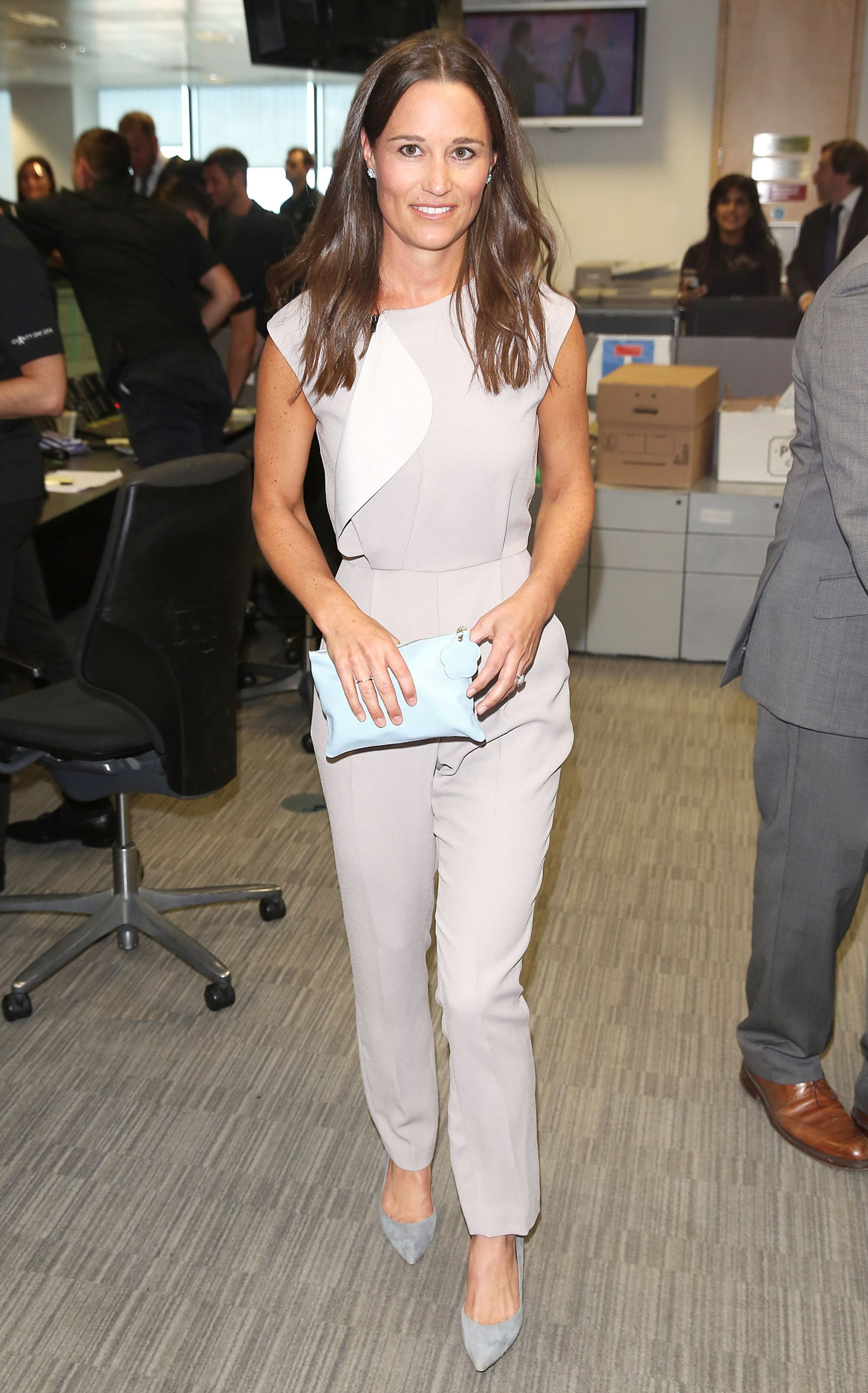 292c4fa43a5 Pippa Middleton Shows Off Her Fit Physique in Chic Gray Jumpsuit at Charity  Event from InStyle.com