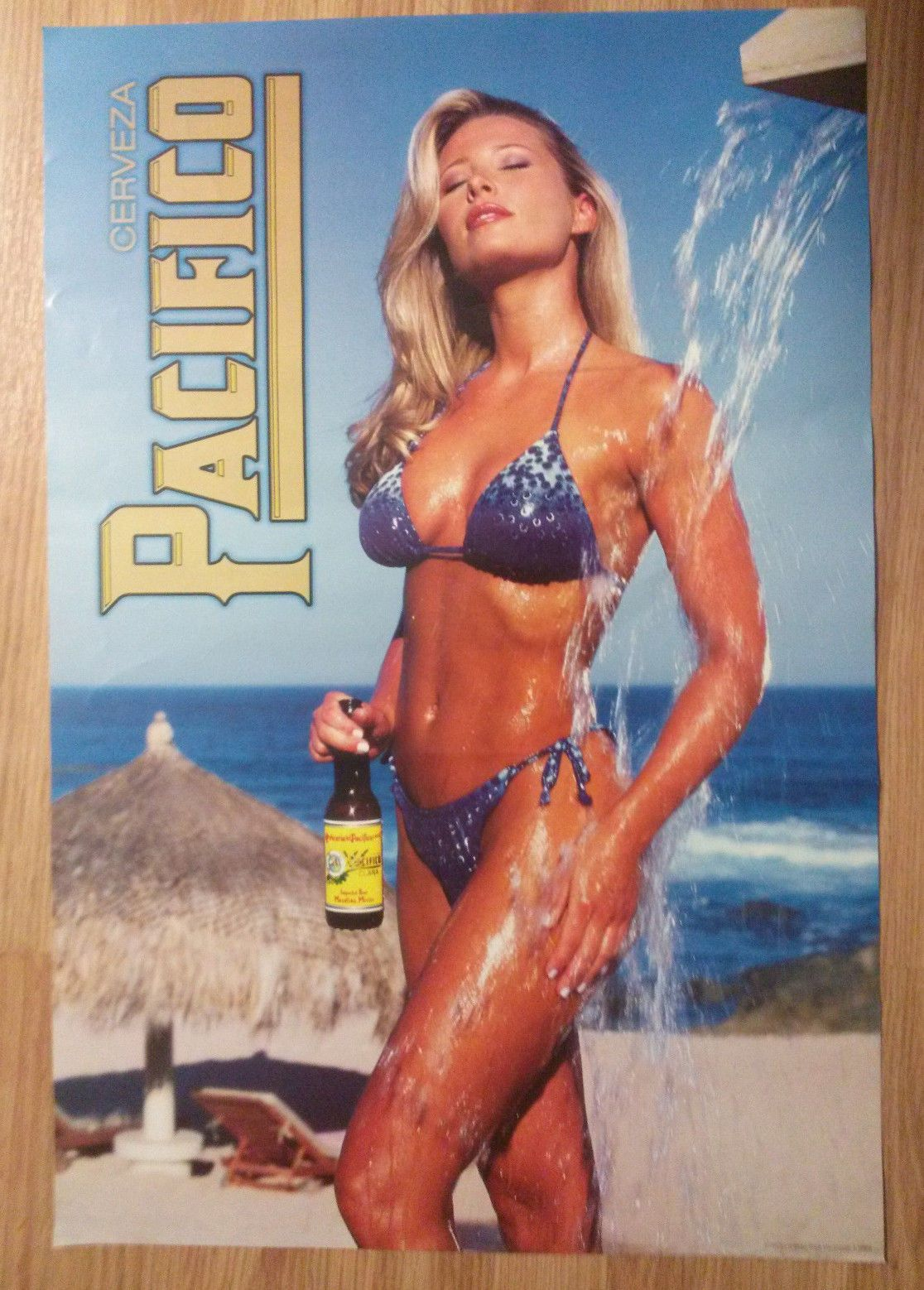 9c9cfc932d7 Sexy Girl Beer Poster Pacifico Blonde Blue Bikini Beach Shower | eBay