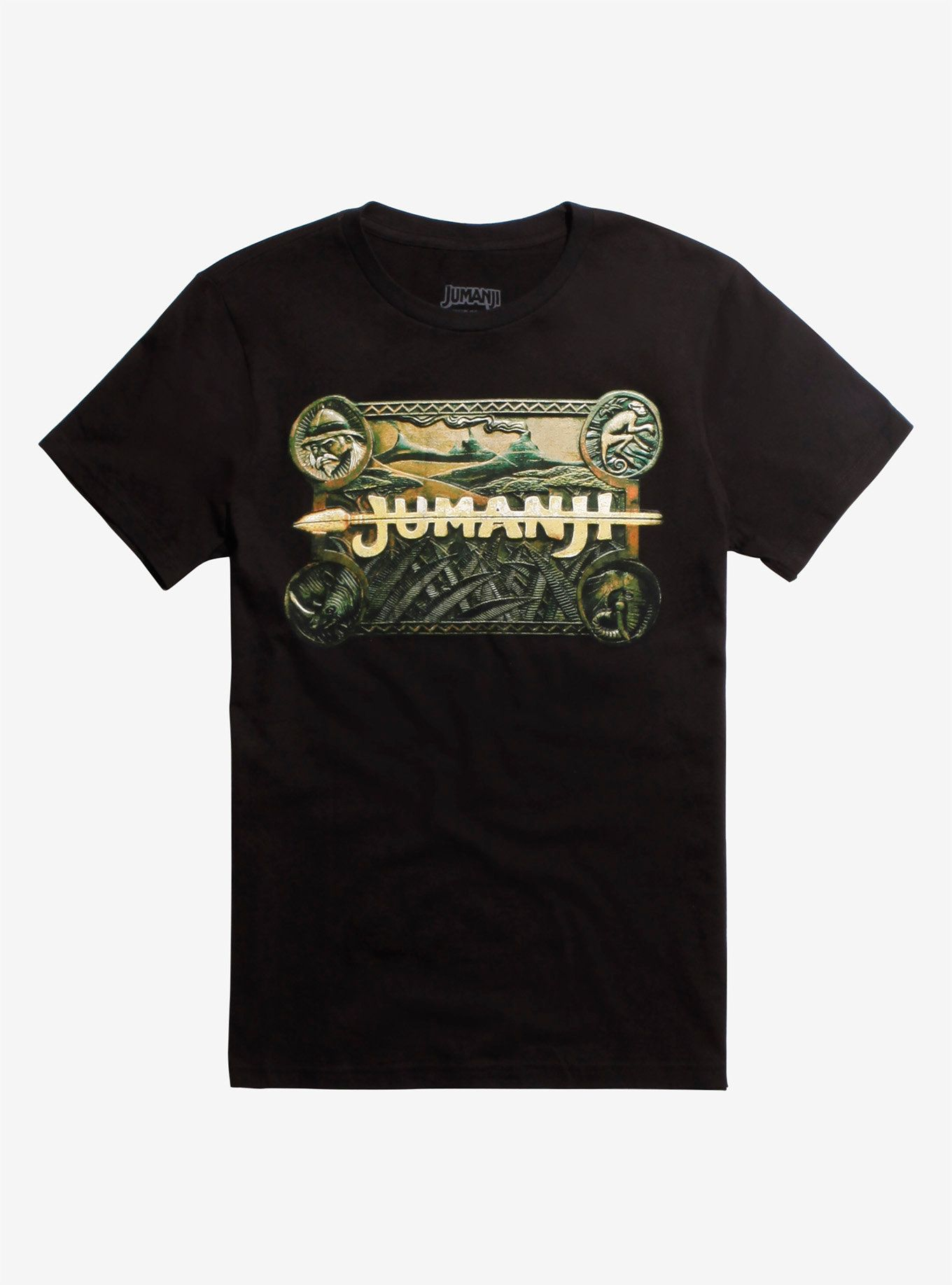 6c86d8256b2 Black T-shirt from the classic 90s film Jumanji with a logo graphic inspired  by the board game featured in the movie. Are you game  100% cotton Wash  cold  ...