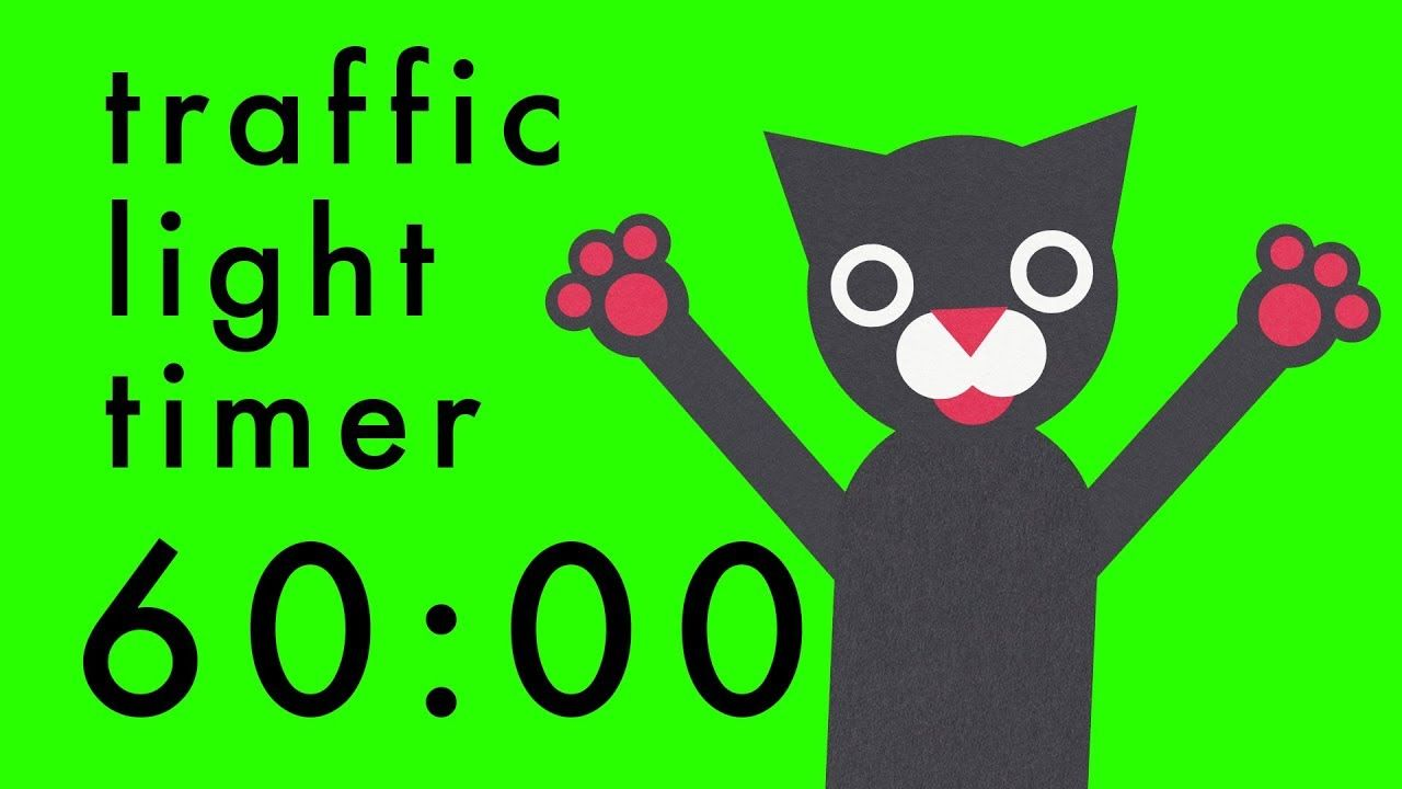 60 Minute Timer - Colour Change Traffic Light Cats Clock