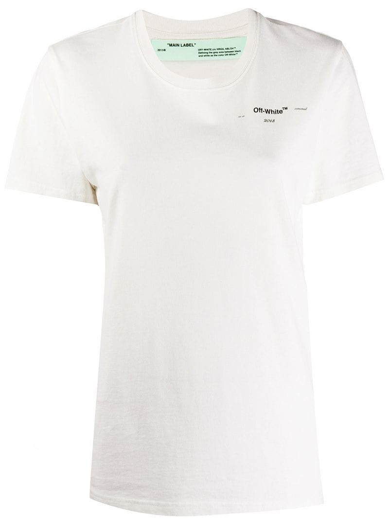 Off White Embroidered Detail T Shirt Streetwear Fashion