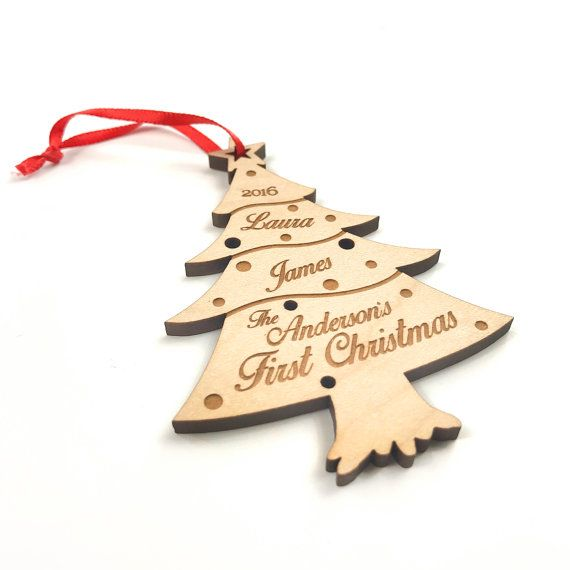 Christmas Tree Ornament Wooden Handmade Gift Custom Name Date Decoration First
