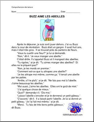 French: Reading Comprehension Worksheet for 3rd - 6th Grade ...