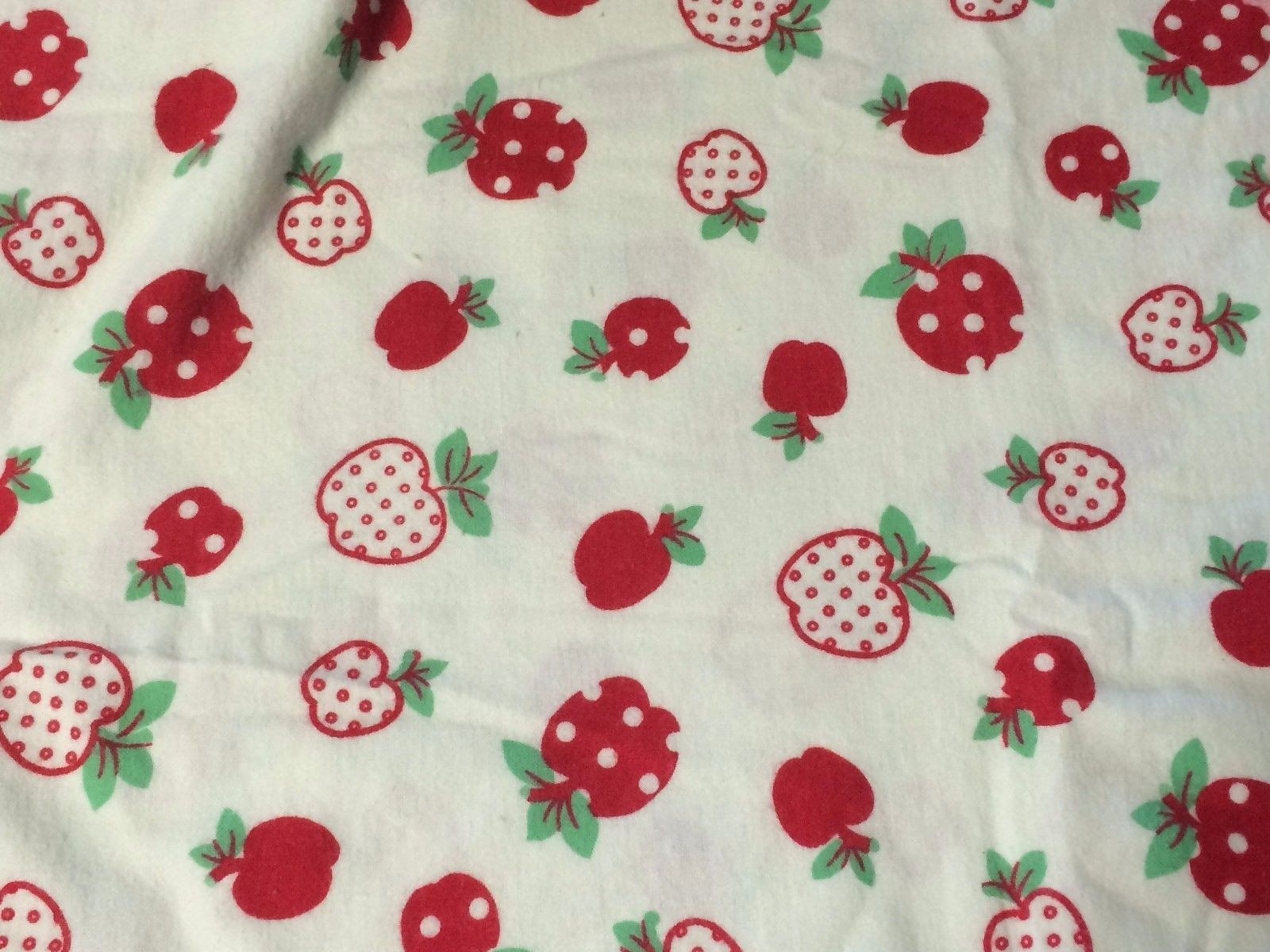 Red flannel fabric  Vintage Lowenstein Bright Red Apples White Cotton Flannel Fabric