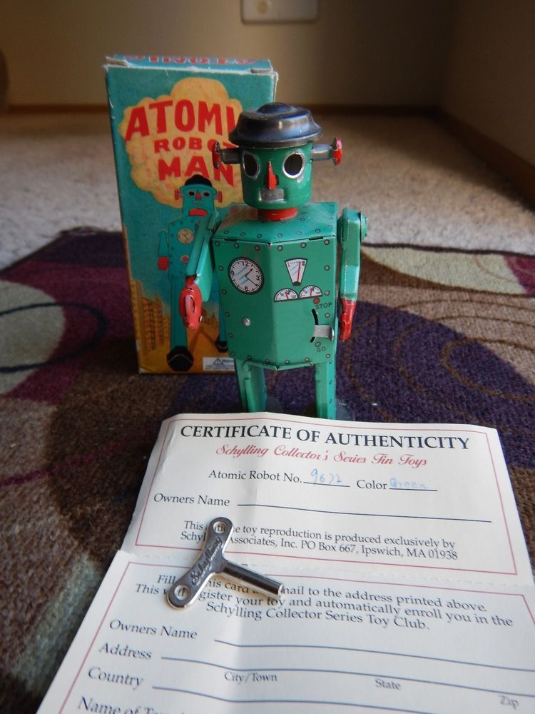 Vintage ATOMIC ROBOT MAN  Wind-up TOY-COLLECTORS CERTIFICATE OF AUTHENTICITY #Schylling