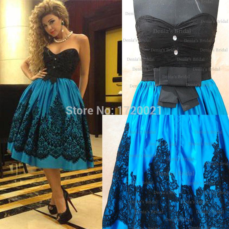 Custom Made Cocktail Dresses Blue Color Black Lace Sweetheart A Line Knee Length Cocktail Dresses 2015 Myriam Fares