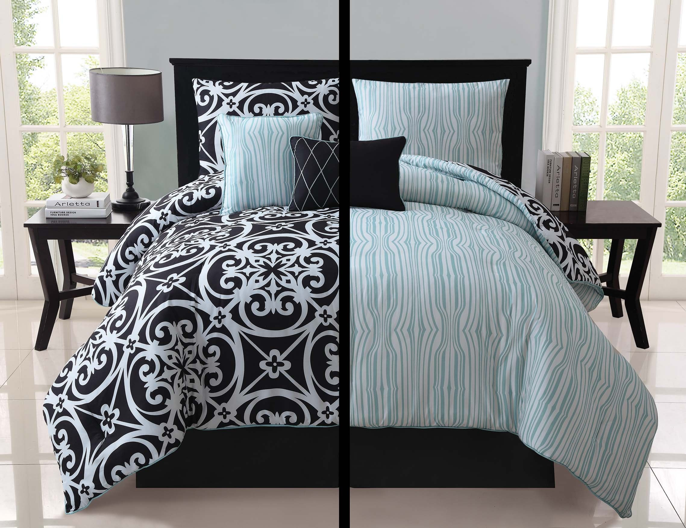 Bed sheet set black and white - Luxury Kennedy Black White Teal Reversible Comforter Set Bedding