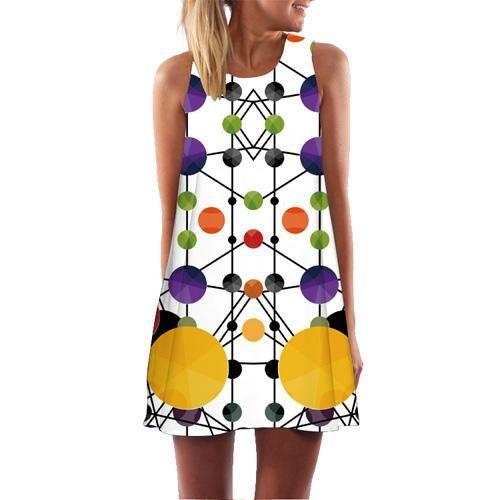 c3803c4a6 BHflutter Women Dress 2018 New Arrival Rose Print Sleeveless Summer Dress O  neck Casual Loose Mini Chiffon Dresses Vestidos