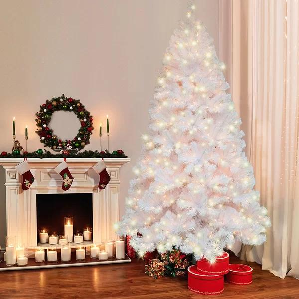 Northern Artificial White Fir Trees Christmas Tree With Warm White Lights White Artificial Christmas Tree Pink Christmas Decorations Artificial Christmas Tree