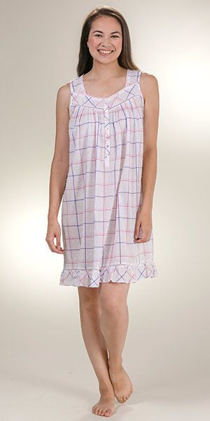 4a7f5ff304 Eileen West 100% Cotton Swiss Dot Sleeveless Chemise - Berry Plaid in 2018