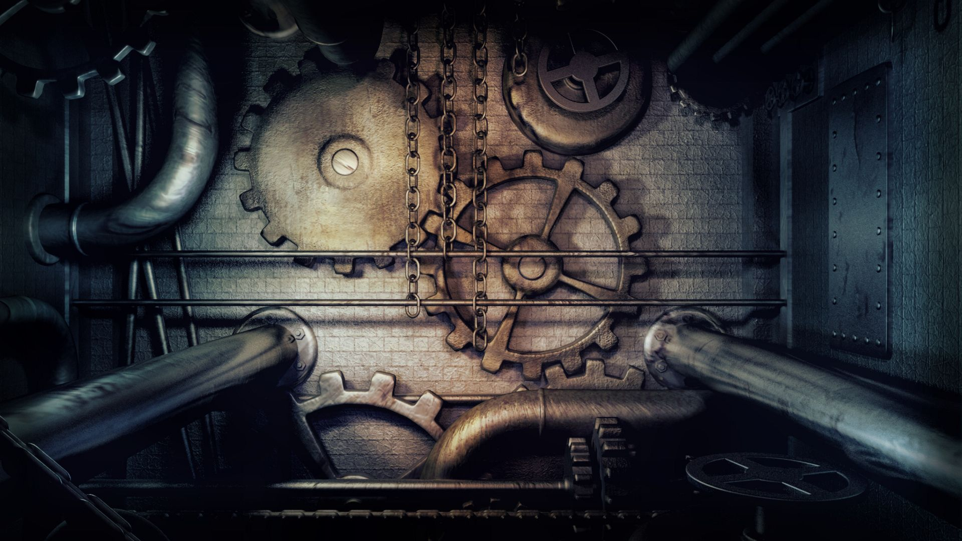 steampunk panel gears and pipes brass wallpaper