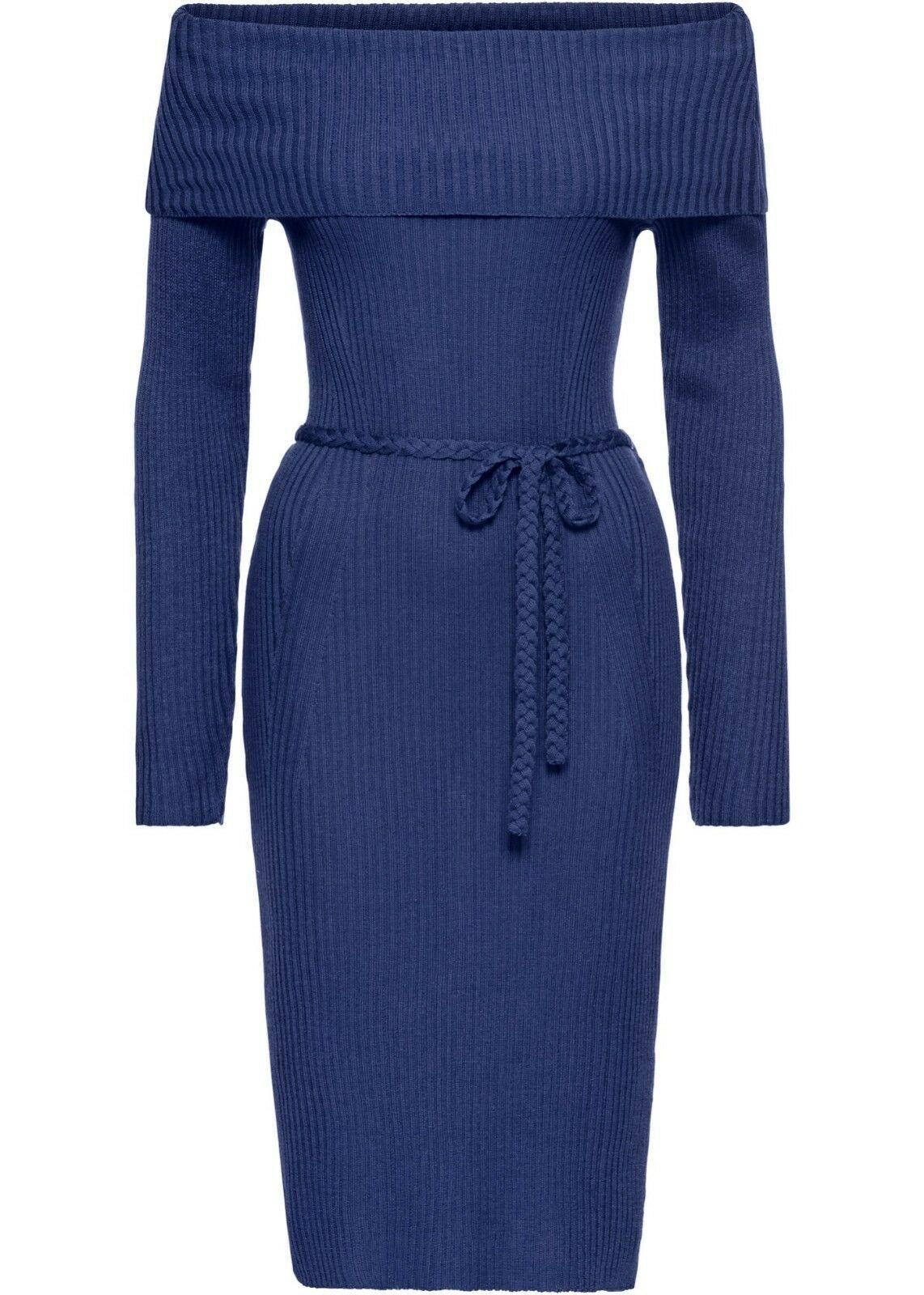 traumhaftes strick kleid in mitternachts-blau super design