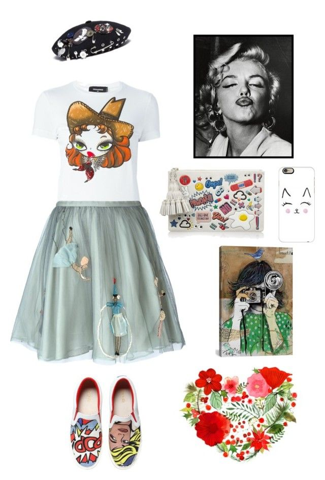 """""""Lovely girl"""" by donniez ❤ liked on Polyvore featuring Dsquared2, RED Valentino, Anya Hindmarch, MOA Master of Arts, Marc by Marc Jacobs, Casetify, 1000Museums and iCanvas"""