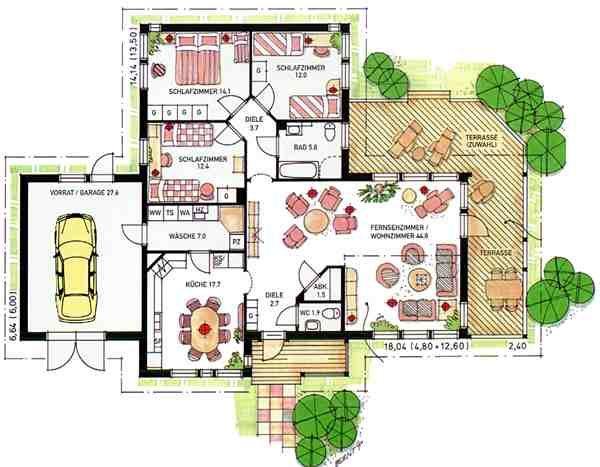 Einfamilienhaus grundriss  Grundrisse für Doppelhaushälften | 6x11 Doppelhaus, klein mit ...