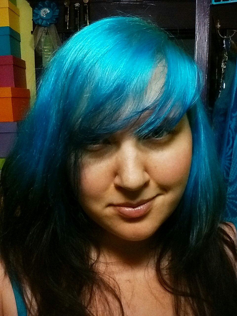 Ion Color Brilliance Neon Brights Line In Cyan Diluted And Mixed With A Little Aqua Demi Permanent Midnight Blue Black On Bleached Faded Turquoise Hair