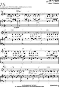Ja. (Klavier + Gesang) Silbermond [PDF Noten] >>> KLICK auf die Noten um Reinzuh… – Isabella Richter