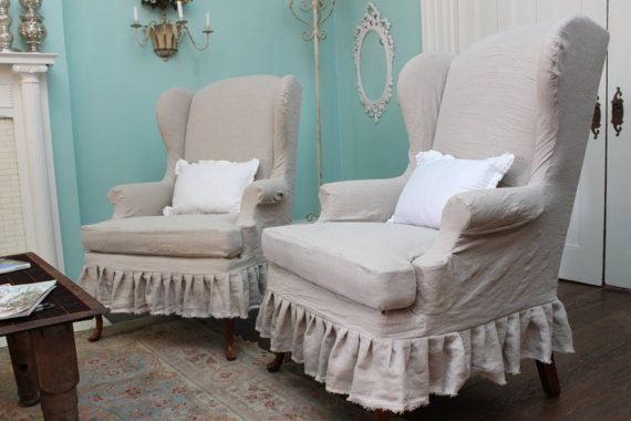 Slipcovered Wingback Chair Pair French Linen Shabby Chic