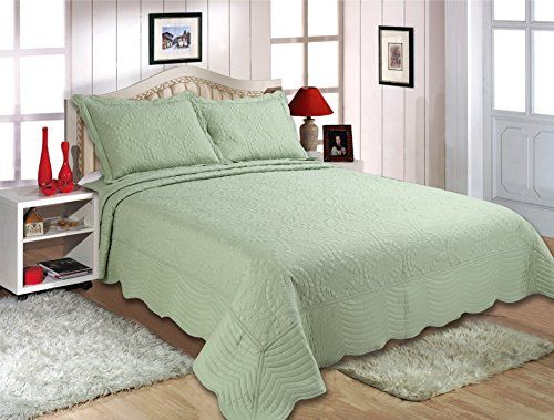 Royal Luxury 3pcs High Quality Fully Quilted Embroidery Quilts Bedspread  Bed Coverlets Cover Set Queen Sage