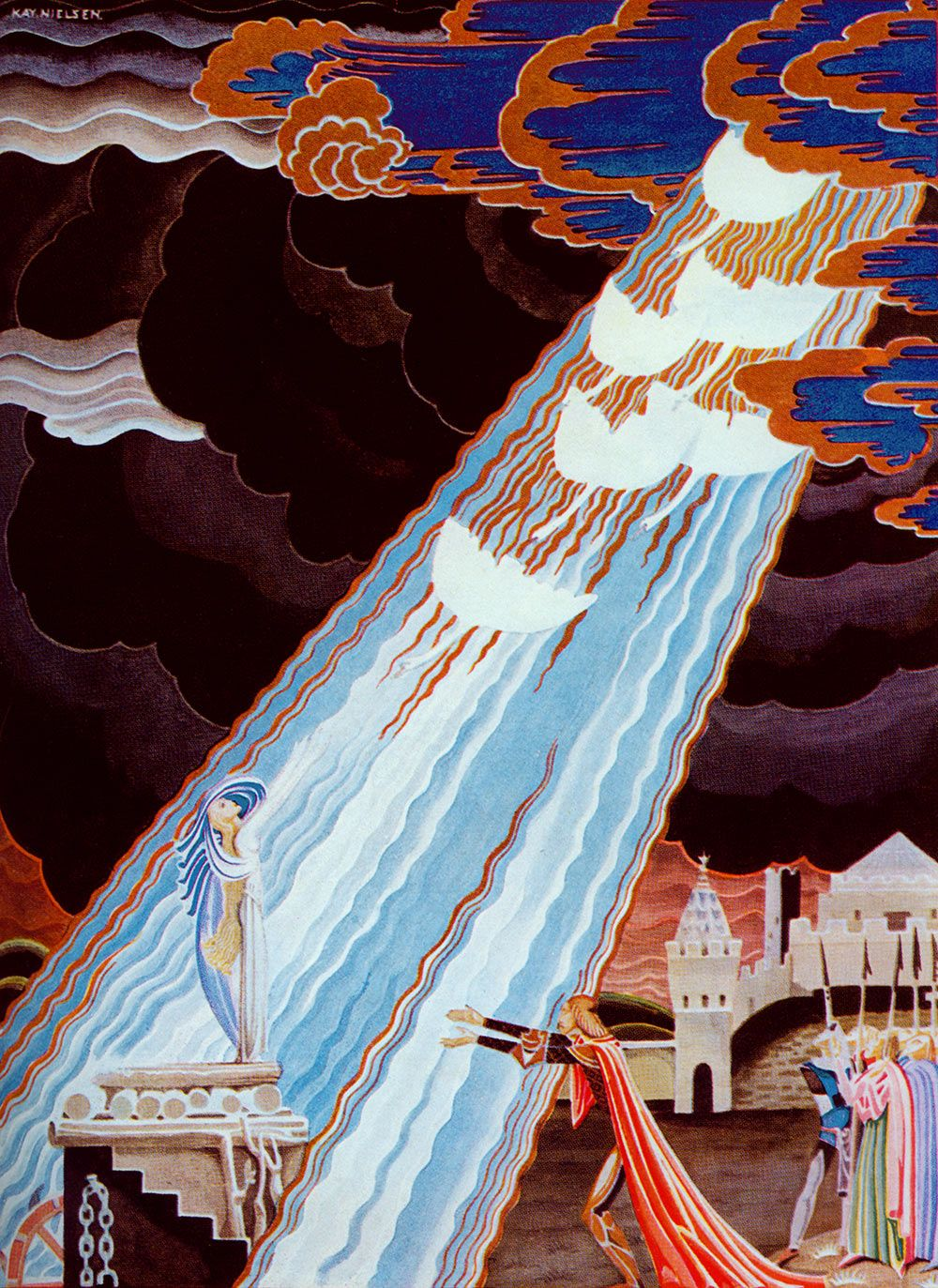 The king was overcome with joy. Fairy Tales of the Brother Grimm, Kay Nielsen illustration