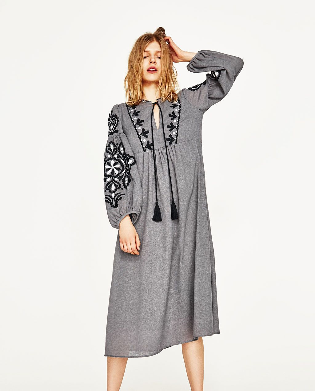 ... Zara - LONG EMBROIDERED DRESS WITH TASSELS - 1