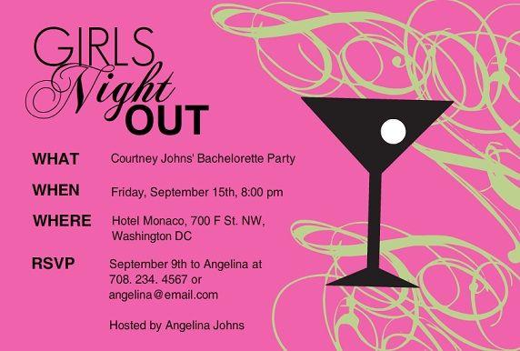 girls night invitation wording pink martini girls night invitation