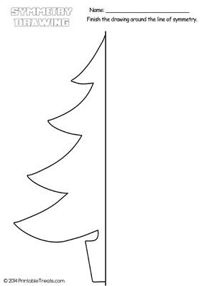 Christmas Tree Symmetry Drawing Worksheet from PrintableTreats.com ...