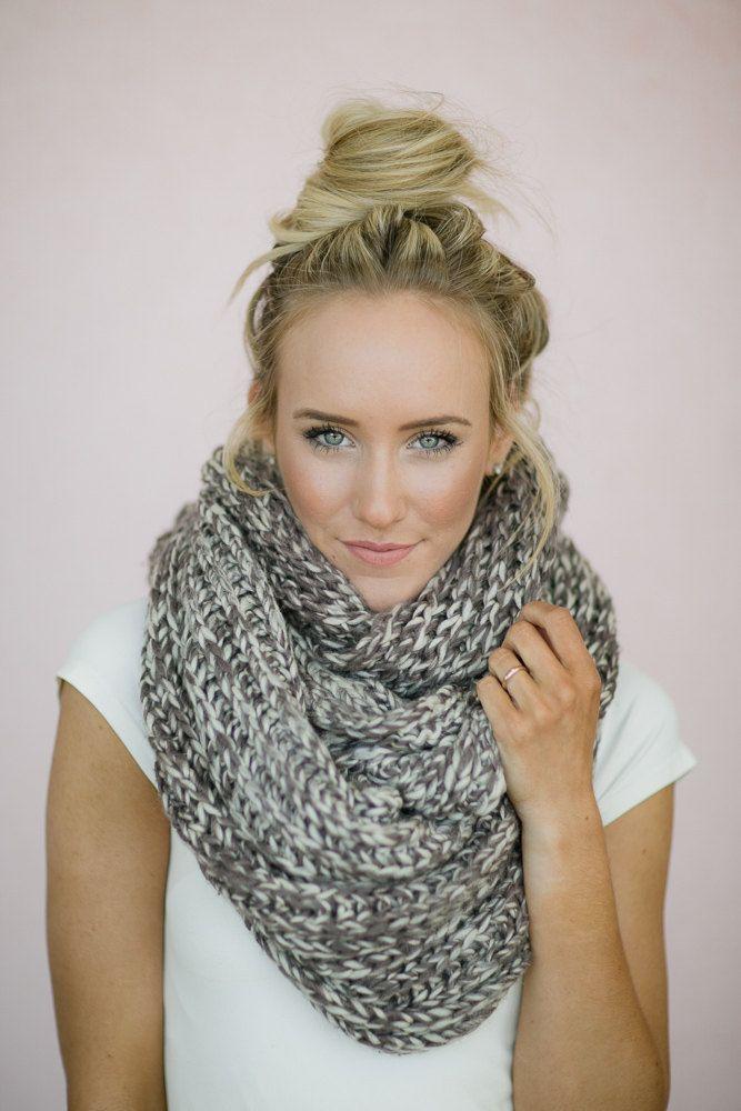 Infinity Scarf Knitted Chunky Mocha Ivory Loop by ThreeBirdNest ...