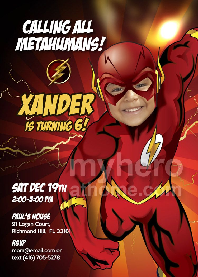Flash Birthday Party Invitation. Sample. Turn your boy in The Flash ...