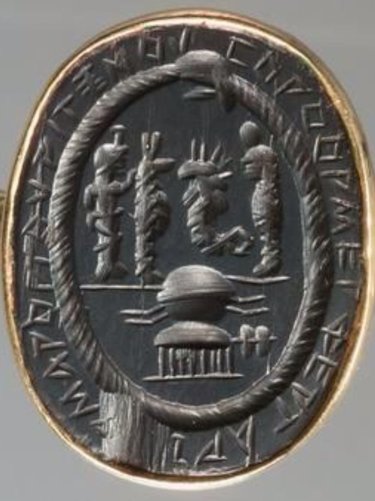 Magic Gem Egyptian Deities And Uterine Symbol Surrounded By The