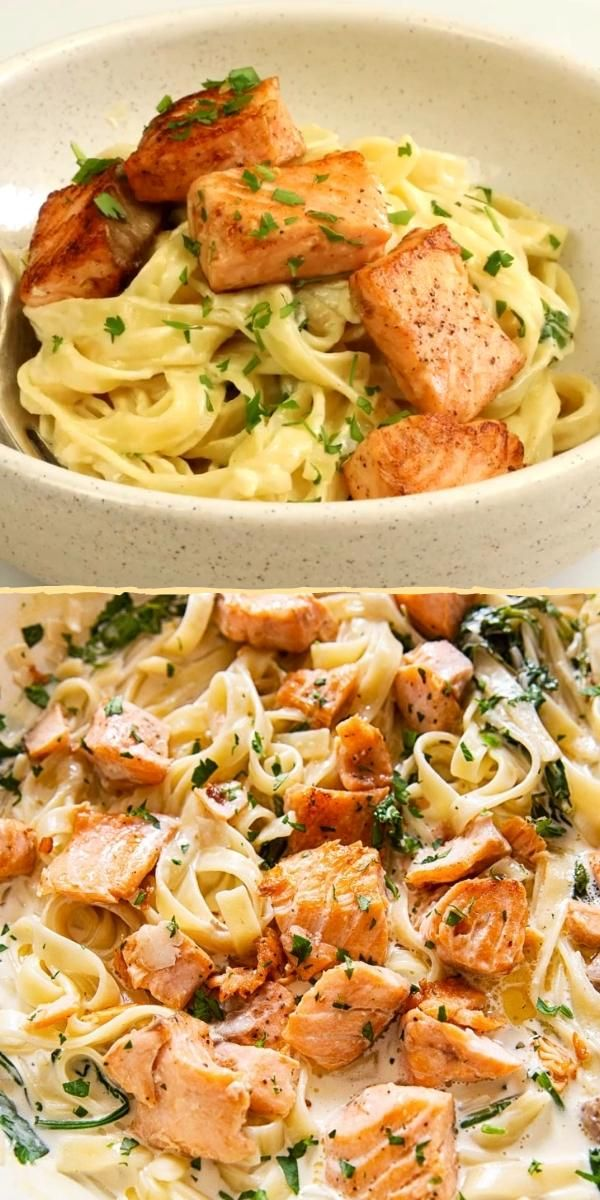 Creamy Salmon Pasta with Mixed Greens