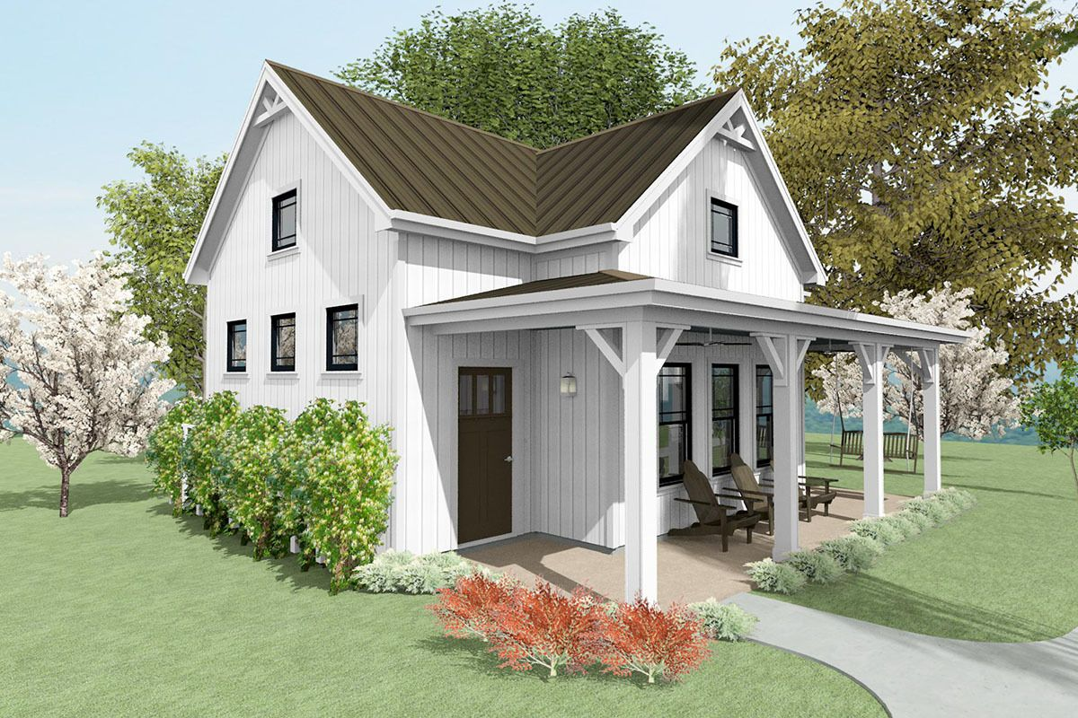 Plan SNG 750 Square Foot Cottage House Plan with Vaulted Living Room