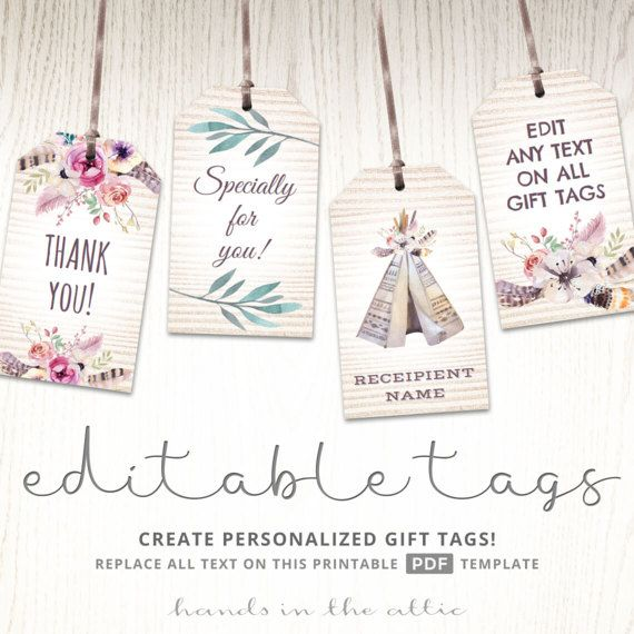 picture relating to Personalized Gift Tags Printable called Editable boho tags, items favors, printable template labels