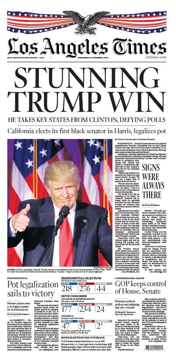 Pin On President Trump S Newspaper Covers Election Night