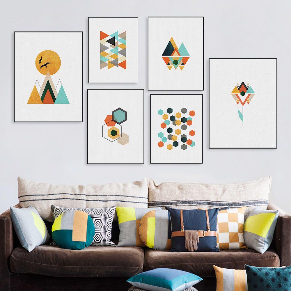Modern Art Print Poster Abstract Geometric Shape Bird Mountain ...