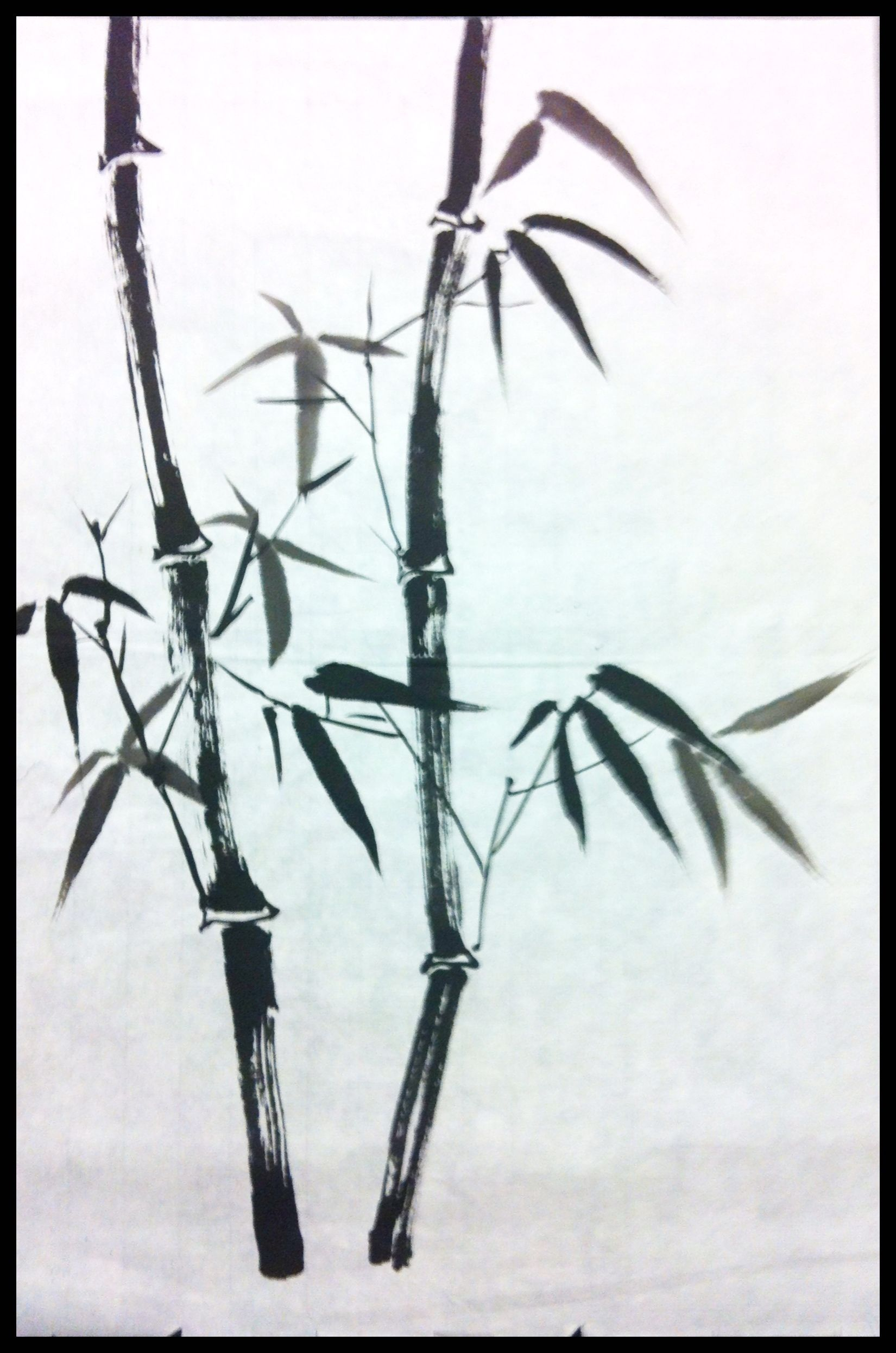 Chinese Ink Brush Painting Bamboo By Malaysian Artist Low Guat