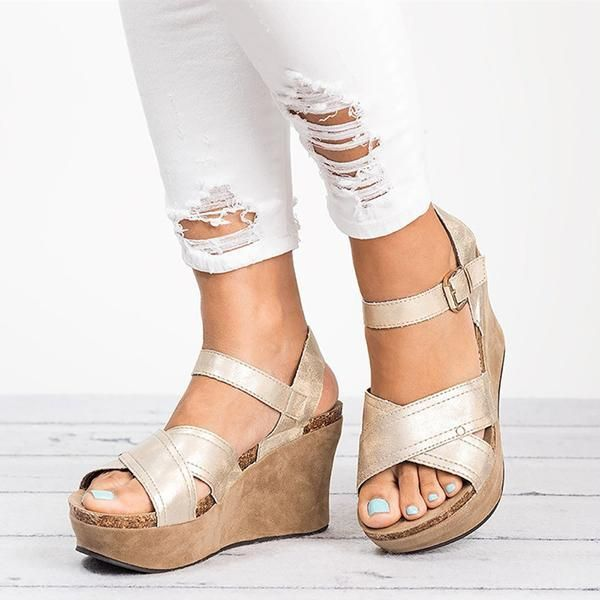fea7d9f2c913f Women Large Size Cross Band Buckle Wedges Sandals