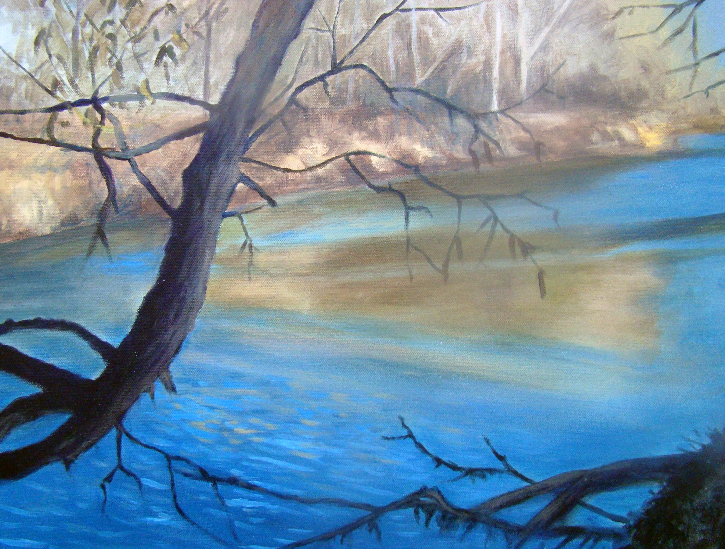 """Across the River    This is a recent acrylic painting I've done of a nearby creek that is close to where we live in Colorado Springs, Colorado.       Original Artwork Details:  16""""H x 20""""W   SOLD"""