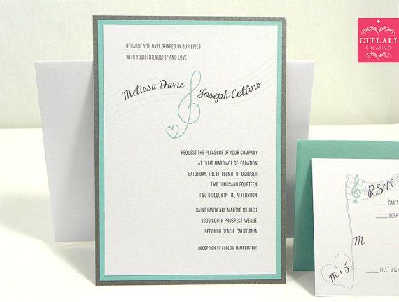 Music Note Themed Wedding Invitation Set In By Citlali On Etsy 200