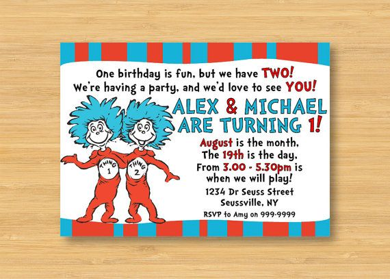 Dr Seuss Thing 1 and Thing 2 Invitation by littleforests on Etsy