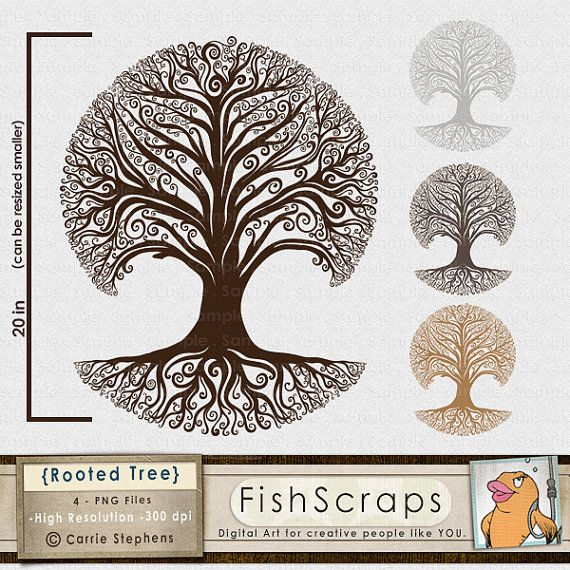 Rooted Christmas Tree: Rooted Tree Clip Art, Family Tree Silhouette, Whimsical